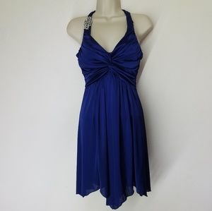 Windsor Blue Silky Dress With Removable Pin